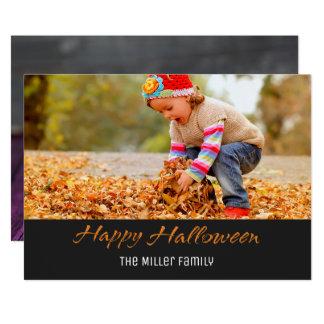 Halloween Rustic Purple Wood Candy Corn Photo Card