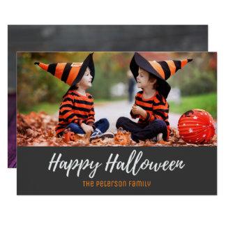 Halloween Rustic Wood Candy Corn Photo Card