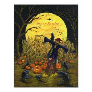 Halloween scarecrow party invitation