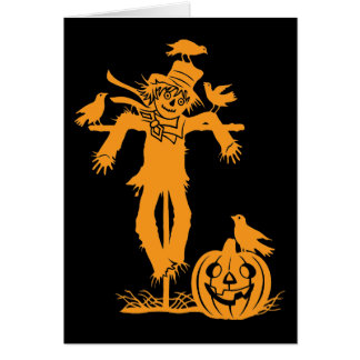 Halloween Scarecrow Silhouette Note Card Cards