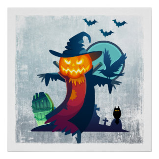 Halloween Scarecrow With Bats Crow And Owl Poster