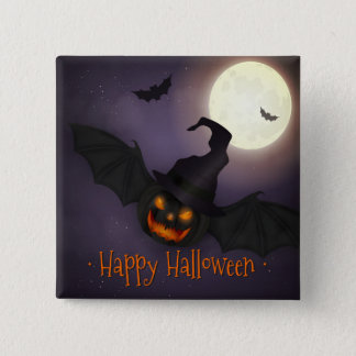 Halloween - Scary Pumpkin Bat 15 Cm Square Badge