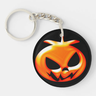 Halloween Scary Pumpkin Double-Sided Round Acrylic Key Ring