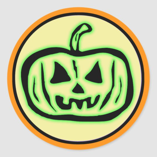 Halloween Scary Pumpkin Jack O Lantern Round Sticker