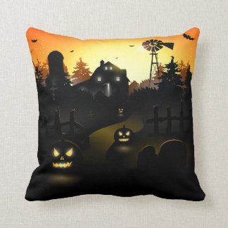 Halloween Scary Pumpkin Scene Cushion