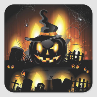 Halloween - Scary Pumpkins w/Hat Square Sticker