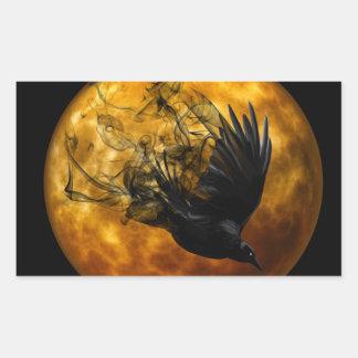 Halloween Scary Scene 13 Raven in Flight Rectangular Sticker