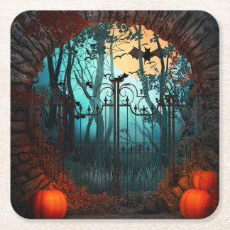 Halloween Scary Scene 2 - Gates Square Paper Coaster