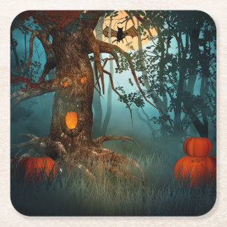 Halloween Scary Scene 3 - Tree Square Paper Coaster