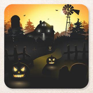 Halloween Scary Scene 4 - Windmill Square Paper Coaster