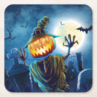 Halloween Scary Scene 5 - Pumpkin Man Square Paper Coaster