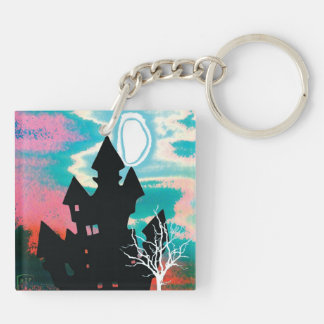 Halloween Scene 1 Double-Sided Square Acrylic Key Ring