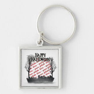 Halloween Scene Photo Frame Silver-Colored Square Key Ring