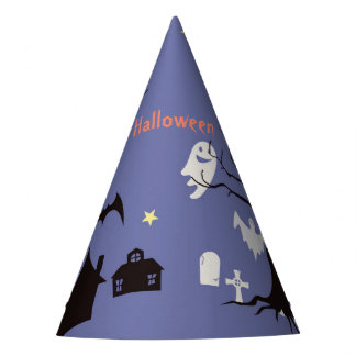 Halloween Scene with ghosts witches and bats Party Hat
