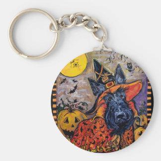 Halloween Scottish Terrier Basic Round Button Key Ring