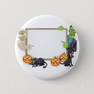 Halloween Sign with Mummy and Frankenstein 6 Cm Round Badge
