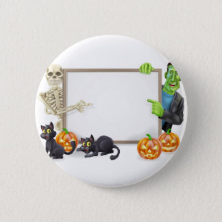 Halloween Sign with Skeleton and Frankenstein 6 Cm Round Badge