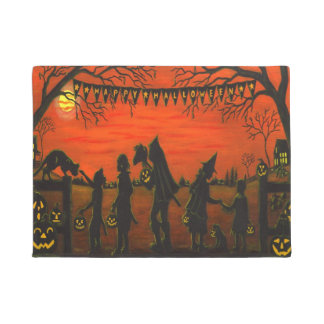 Halloween silhouette door mat