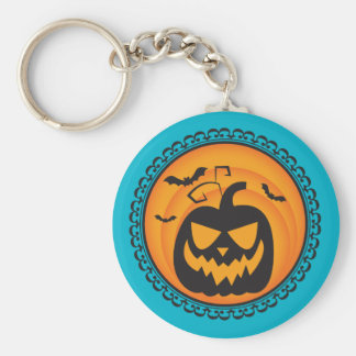 Halloween Silhouettes Evil Pumpkin Key Ring Basic Round Button Key Ring