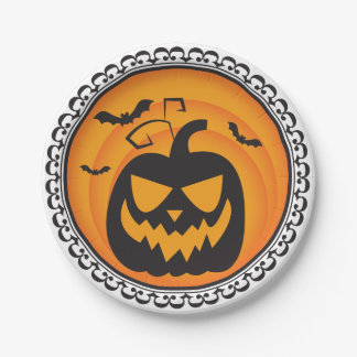 Halloween Silhouettes Evil Pumpkin Paper Plates 7 Inch Paper Plate
