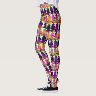 Halloween Silly Pumpkin Cocktail Party Pattern Leggings