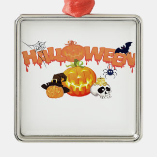 Halloween Silver-Colored Square Decoration