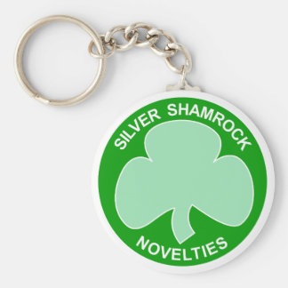 Halloween Silver Shamrock Logo Key Ring