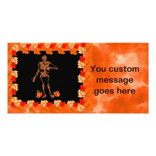 Halloween Skeleton and Pumpkins Photo Card Template