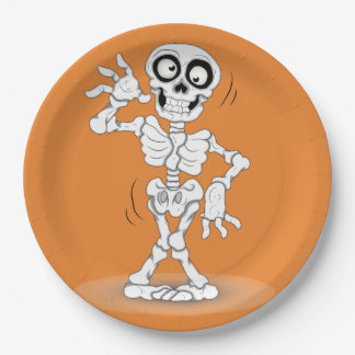 Halloween Skeleton Background 9 Inch Paper Plate