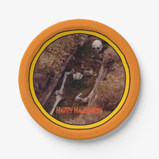 Halloween Skeleton Bones Scary Photo Designed Paper Plate