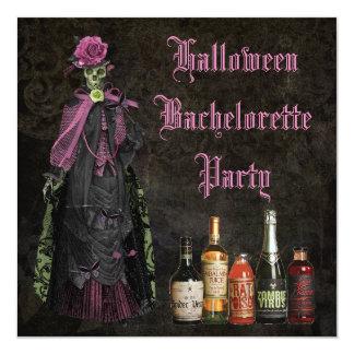 "Halloween Skeleton Bride Bachelorette Party 5.25"" Square Invitation Card"
