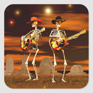 Halloween Skeleton Concert Square Sticker
