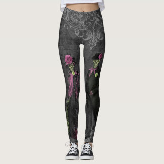 Halloween Skeleton Couple Leggings