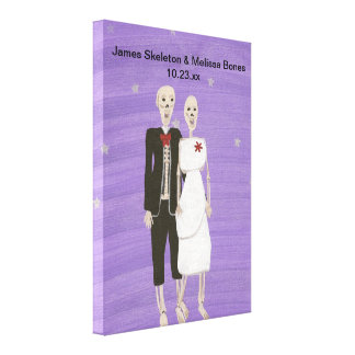 Halloween Skeleton Couple Wedding Wrapped Canvas Stretched Canvas Prints