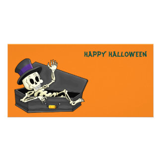 Halloween Skeleton Custom Photo Card