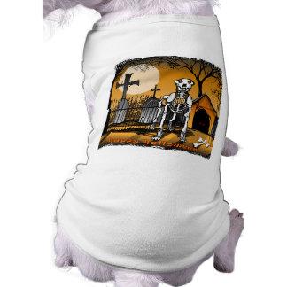Halloween Skeleton Dog in Graveyard Pet Dog Tshirt