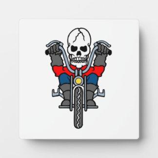 Halloween Skeleton on Motorcycle Display Plaque