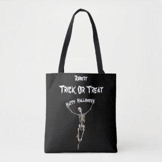Halloween Skeleton Trick or Treat Tote Bag