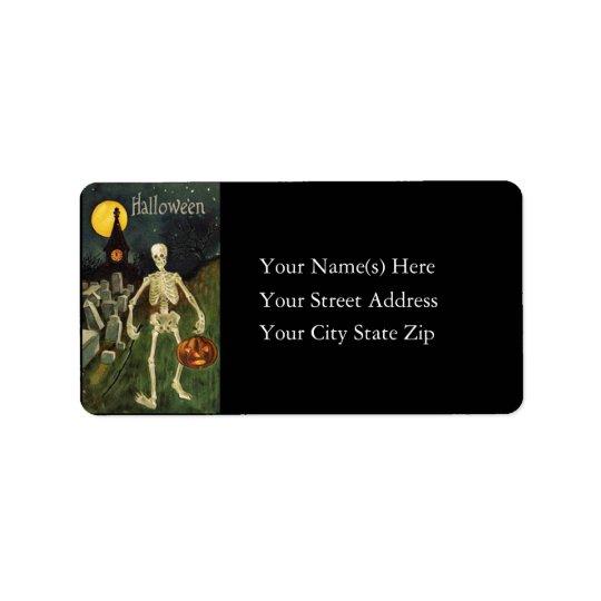 Halloween Skeleton Vintage Return Address Label