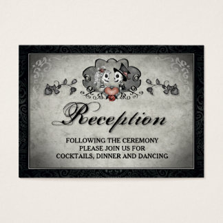 Halloween Skeletons & Heart Black Gray Reception Business Card