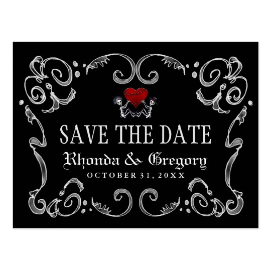 Halloween Skeletons & Heart Matching Save the Date