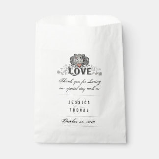 Halloween Skeletons Red Heart LOVE Wedding Names Favour Bags