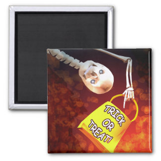 Halloween Skeletons Trick or Treat Square Magnet