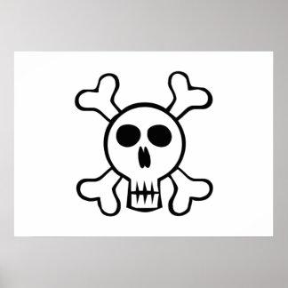 Halloween Skull and Crossbones Print