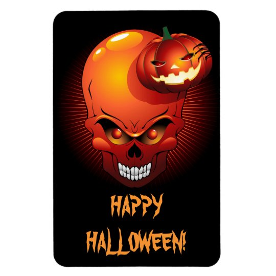 Halloween Skull and Pumpkin Premium Flexi Magnet