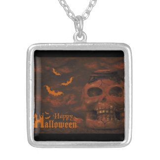 Halloween skull bats square pendant necklace