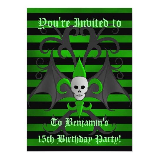 Halloween skull birthday card