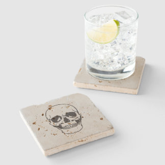 Halloween Skull Black Line Drawing Stone Beverage Coaster