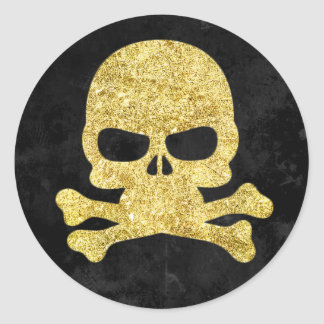 Halloween Skull & Cross Bones Gold Faux-Glitter Round Sticker