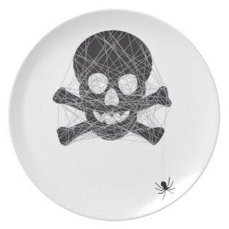 Halloween skull design with spider net plate